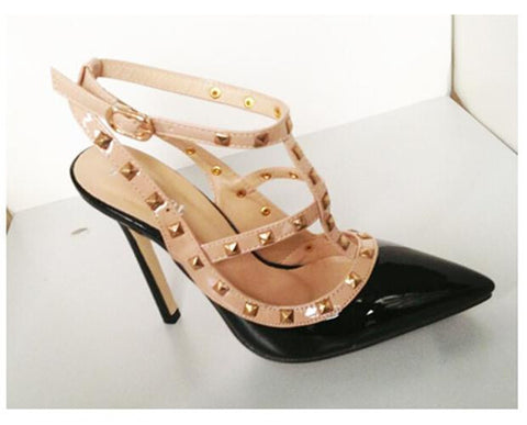 Women Pointed Toe High Heels With Buckle Studded Stiletto