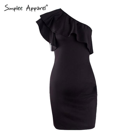 Simplee Autumn ruffles one shoulder dress