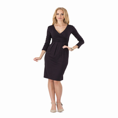 Elegant V-neck Long Sleeve Pleated Slim Dress (Comes in 5 different Colors)