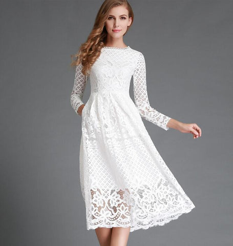 Women's Lace Hollow Out Long Dresses (Comes in Black or White Color)