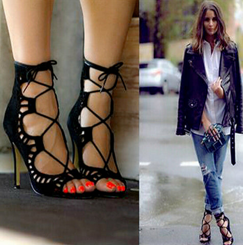 Women Lace up High Heels Cut Outs Shoes