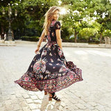 Maxi Print Dress Long Beach Dress