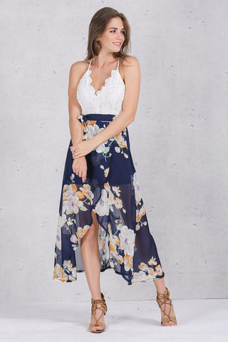 Print Lace Dress Strap With Deep V-neck and High Waist Backless Long Dress