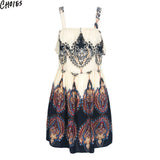 Beige Vintage Paisley Floral Print Ruffle Cut Out Dress