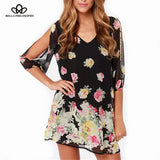 V-Neck Floral Dress With Cropped Sleeves