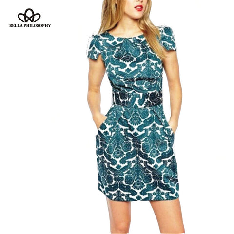 Vintage Green Floral Print Slim Fit Double Pocket Dress