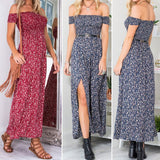 Women's Vintage Dress Floral Print Off Shoulder Split Tube Maxi Dress
