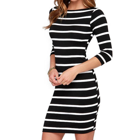 Black and White Striped Long Sleeve Straight Dress