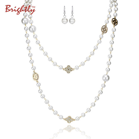 Simulated Pearl Necklaces Double layer Beads with Four Leaf Cloves Design and earrings