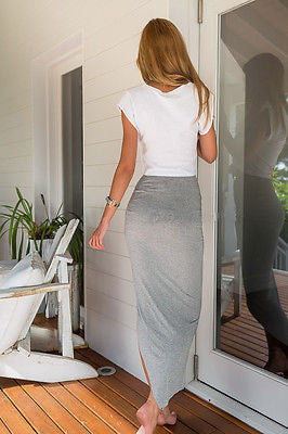 High Waisted Asymmetric Stretch Ruched Skirt