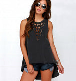Black Hollow Out Tank Top