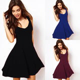 Solid Color Sleeveless Dress