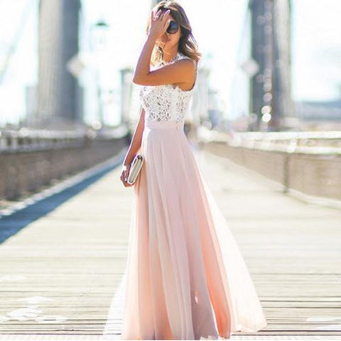 Pink Sleeveless Maxi Summer Dress