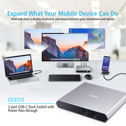 ATEN 2 port USB-C Dock Switch with Power Pass-through US3310 available in the UK