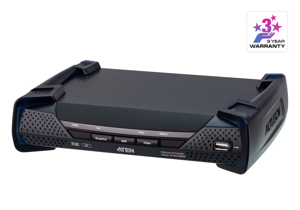 4K DisplayPort Single Display KVM over IP Receiver with PoE - KE9952R