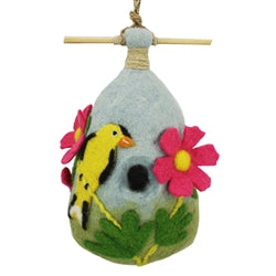 Wild Woolies Felt Birdhouse - Cosmos and Goldfinch