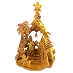 Olive Wood Nativity with Bell, Angel, Tree and Star