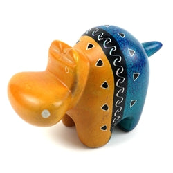 Handcrafted Tan and Blue Soapstone Hippo