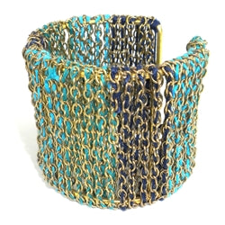 Ombre Teal Threaded Chain Cuff