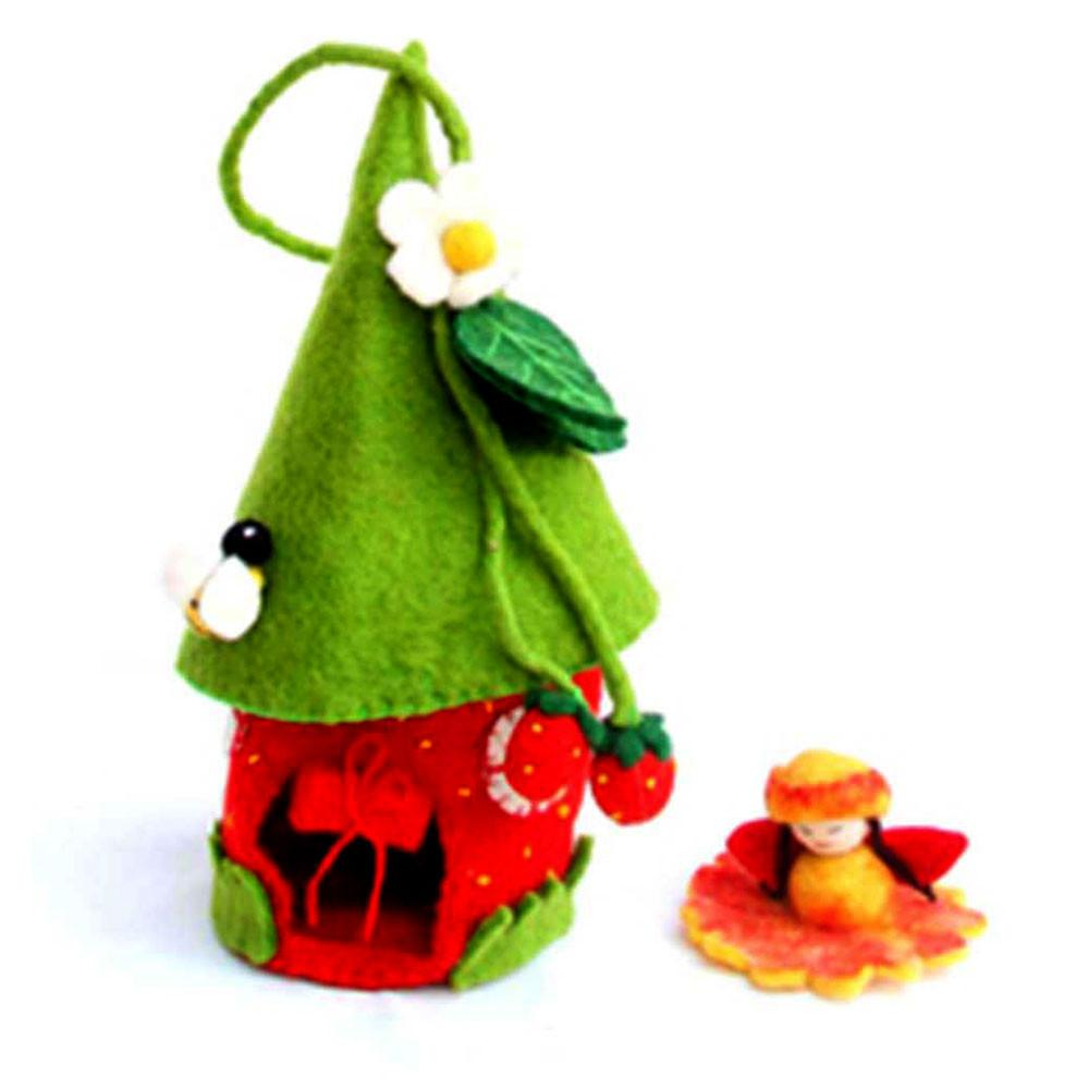 Felted Strawberry Fairy House -