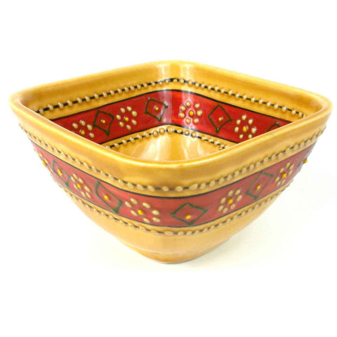 Hand-painted Square Bowl in Honey - Encantada - Green Sea Eco