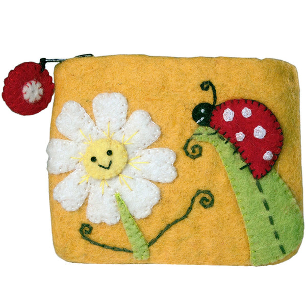 Felt Coin Purse - Daisy Ladybug Handmade and Fair Trade