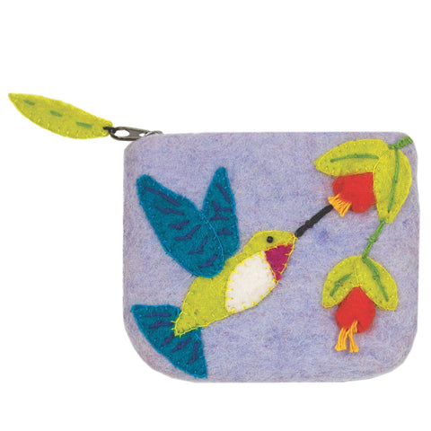 Felt Coin Purse - Hummingbird - Wild Woolies (P) - Green Sea Eco