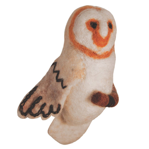 Felt Bird Garden Ornament - Barn Owl - Wild Woolies (G) - Green Sea Eco