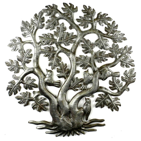 14 inch 3 Trunk Tree of Life Wall Art - Croix des Bouquets - Green Sea Eco