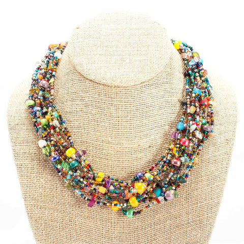12 Strand Bead Beach Ball Necklace - Lucias Imports (J) - Green Sea Eco