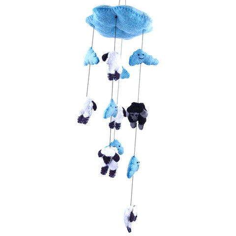 Blue Felt Counting Sheep Mobile - Global Groove - Green Sea Eco