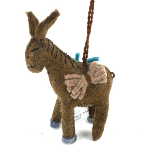 Baby Donkey Felt Holiday Ornament - Silk Road Bazaar (O) - Green Sea Eco