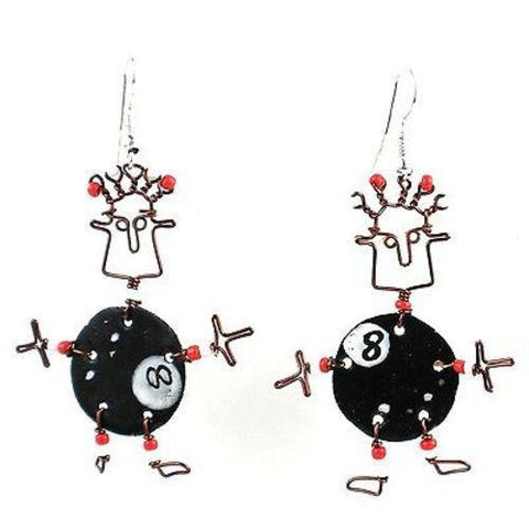 Dancing Girl Eight Ball Earrings - Creative Alternatives - Green Sea Eco