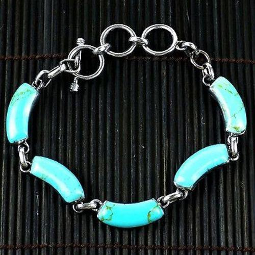 Handcrafted Mexican Alpaca Silver and Turquoise Curve Bracelet Handmade and Fair Trade