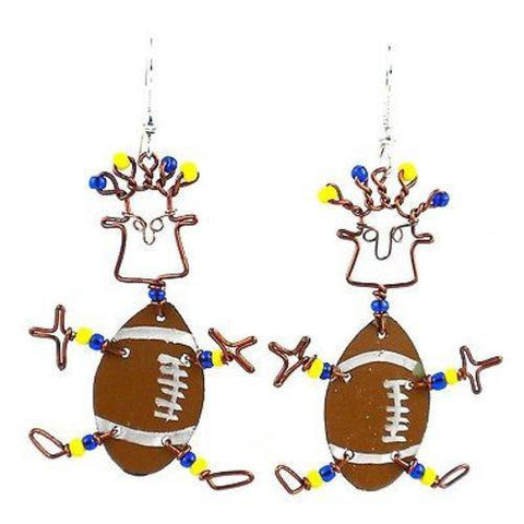 Dancing Girl American Football Earrings - Creative Alternatives - Green Sea Eco