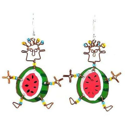Dancing Girl Round Melon Earrings - Creative Alternatives - Green Sea Eco