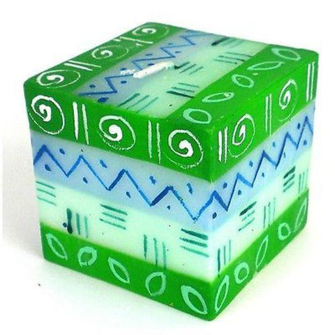 Hand-Painted Cube Candle Farih Design - Nobunto - Green Sea Eco
