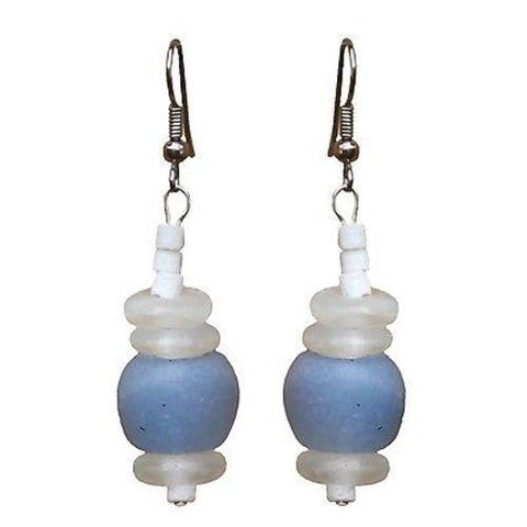 Recycled Blue Glass Abacus Earrings - Global Mamas - Green Sea Eco
