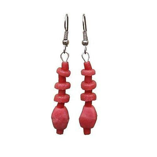 Pink Poppy Glass Pebbles Earrings Handmade and Fair Trade