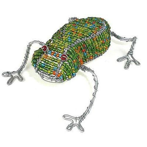Handmade Frog in Wire and Beads - South Africa - Green Sea Eco