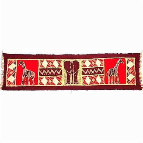 Horizontal Maroon Elephant with Giraffes Batik - Tonga Textiles - Green Sea Eco