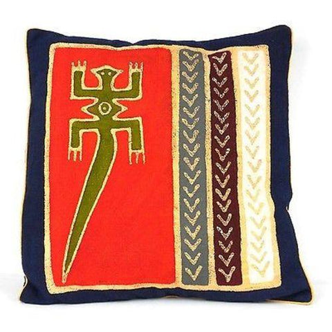 Handmade Red Lizard Batik Cushion Cover - Tonga Textiles - Green Sea Eco