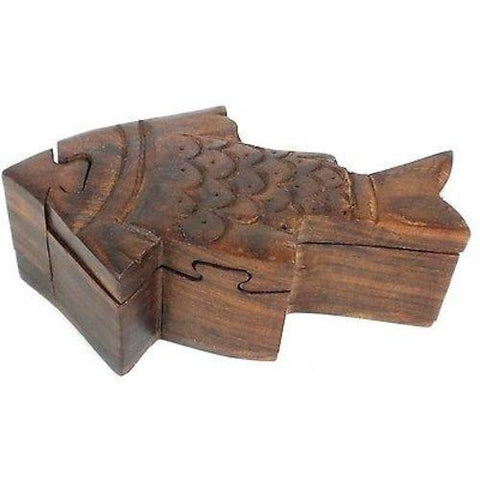 Handcrafted Sheesham Wood Fish Puzzle Box - Noahs Ark - Green Sea Eco