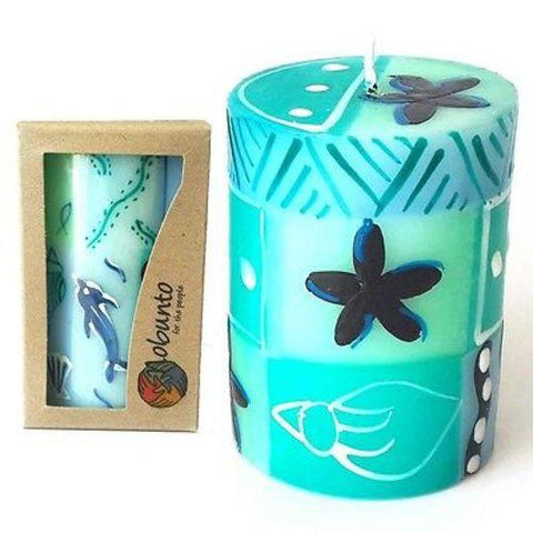 Single Boxed Hand-Painted Pillar Candle - Samaki Design - Nobunto - Green Sea Eco