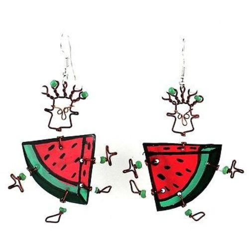 Dancing Girl Melon Slice Earrings Handmade and Fair Trade