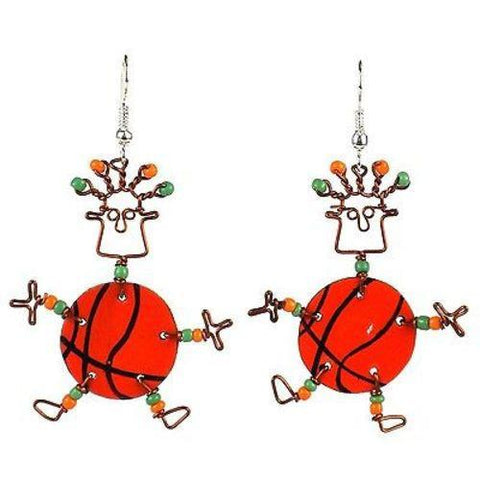 Dancing Girl Basketball Earrings - Creative Alternatives - Green Sea Eco