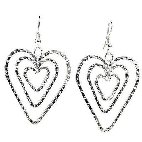 Triple Heart Silver Overlay Earrings Handmade and Fair Trade