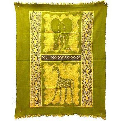 Elephant and Giraffe Batik in Lime/Periwinkle - Tonga Textiles - Green Sea Eco