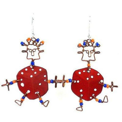 Dancing Girl Lucky Dice Earrings - Creative Alternatives - Green Sea Eco