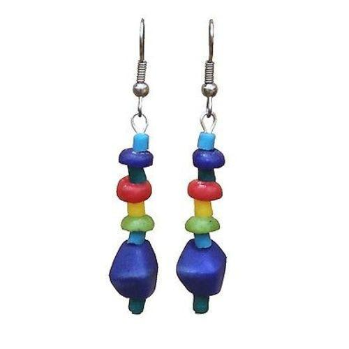 Multicolor Rainbow Glass Pebbles Earrings Handmade and Fair Trade
